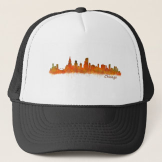 Chicago skyline in watercolor Cityscape Trucker Hat