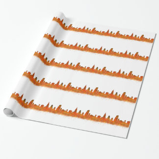Chicago skyline in watercolor Cityscape Wrapping Paper