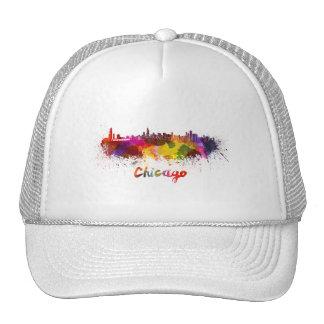 Chicago skyline in watercolor trucker hat