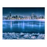Chicago Skyline in Winter Post Card