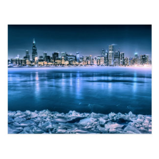 Chicago Skyline in Winter Postcard