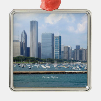 Chicago Skyline Metal Ornament