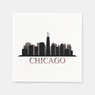 chicago skyline paper napkin
