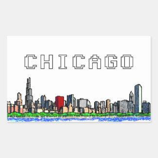 Chicago Skyline Pixel Art Stickers