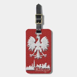Chicago Skyline Polish Eagle Luggage Tag
