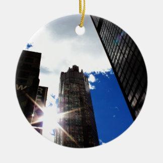 Chicago Skyline Round Ceramic Ornament