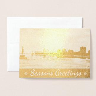Chicago Skyline Seasons Greetings Foil Card