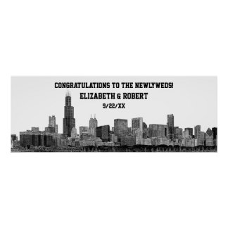 Chicago Skyline Silhouette Wedding Party Banner Poster