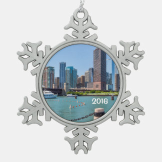 Chicago Skyline Snowflake Pewter Christmas Ornament