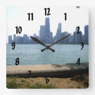 Chicago Skyline Square Wall Clock