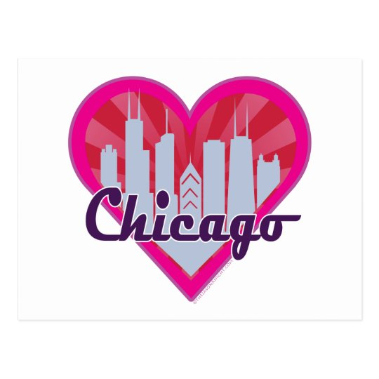 Chicago Skyline Sunburst Heart Postcard