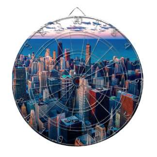 Chicago Skyline Sundown Dartboard