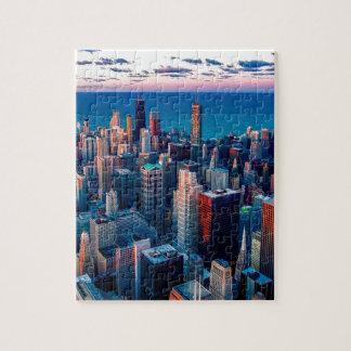 Chicago Skyline Sundown Jigsaw Puzzle