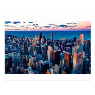 Chicago Skyline Sundown Postcard