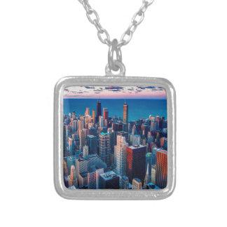 Chicago Skyline Sundown Silver Plated Necklace