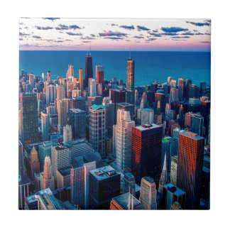 Chicago Skyline Sundown Tile