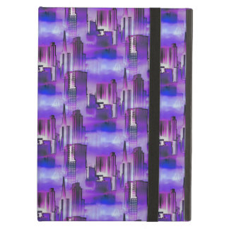 Chicago Skyline Urban Art in Purple and Blue iPad Air Cover