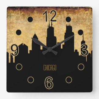 Chicago Skyline | Vintage Grunge Style Clocks