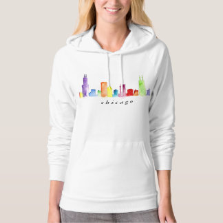 chicago skyline watercolor  fleece pullover women