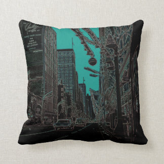 Chicago State Street @ Christmas 1967 Glowing Edge Throw Pillow
