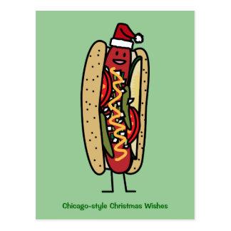 Chicago style hot dog Christmas Santa hat Postcard