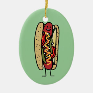 Chicago Style Hot Dog hot red poppy bun mustard Ceramic Ornament