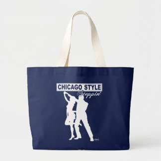 Chicago Style Steppin' Tote Bag white silhouette