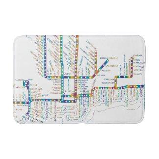 Chicago Subway Map w/ Train stops COLOR TIE DYE Bath Mat