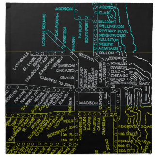 Chicago Subway Map w/ Train stops colorful vintag Napkin