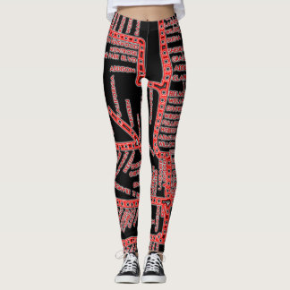 Chicago Subway Map w/ Train stops NEON RED Leggings