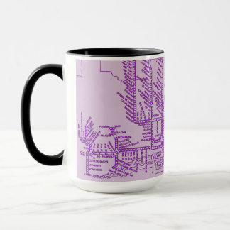 Chicago Subway Map w/ Train stops vintage purple Mug