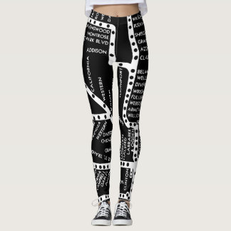 Chicago Subway Train Vintage System Map Route Leggings