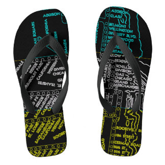 Chicago Subway Train Vintage System Map Route NEON Flip Flops