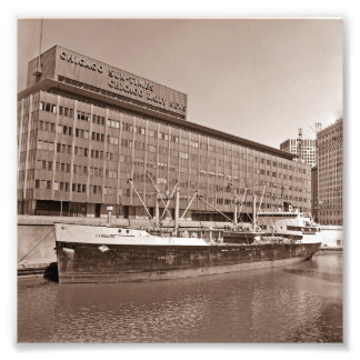 Chicago Sun Times Bldg Great Lakes Ship 1967 Photographic Print
