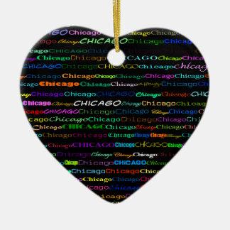 Chicago Text Design I Heart Ornament