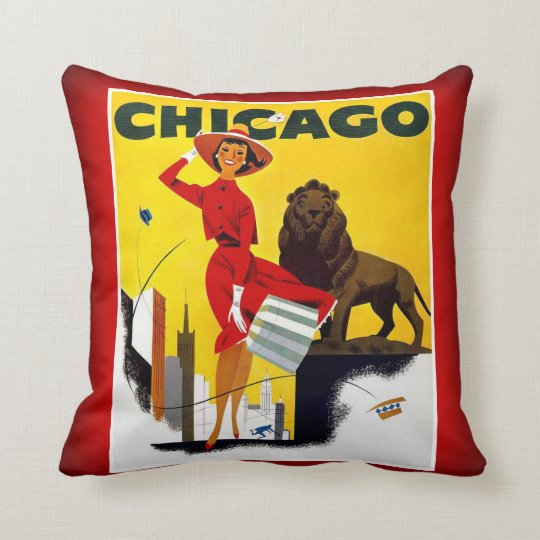 Chicago The Windy City USA Vintage Tourism Throw Pillow