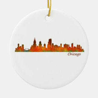 Chicago U.S. Skyline cityscape Round Ceramic Ornament