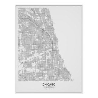 Chicago, United States Minimalist Map Poster
