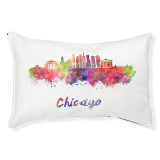 Chicago V2 skyline in watercolor Pet Bed