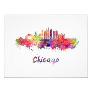 Chicago V2 skyline in watercolor Photo Print