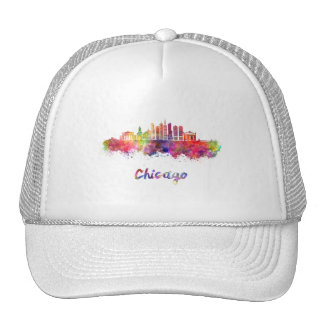 Chicago V2 skyline in watercolor Trucker Hat