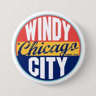 Chicago Vintage Label 3 Inch Round Button