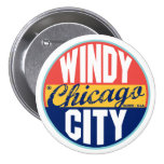 Chicago Vintage Label Pinback Buttons