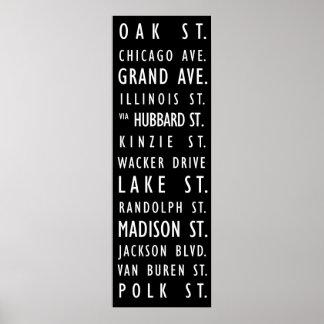 Chicago Vintage Transit Scroll Poster