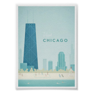Chicago Vintage Travel Poster