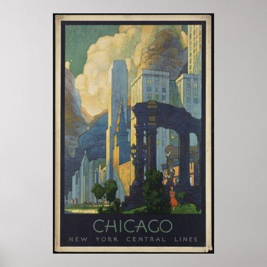 Chicago Vintage Travel Poster Ad Retro Prints