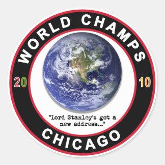 Chicago World Champs 2010 Champions Ice Hockey Classic Round Sticker