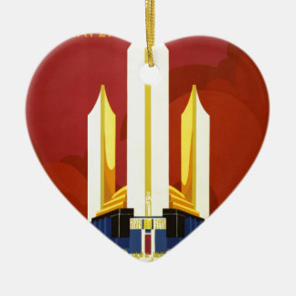Chicago world's fair. A century of progress Ceramic Heart Ornament