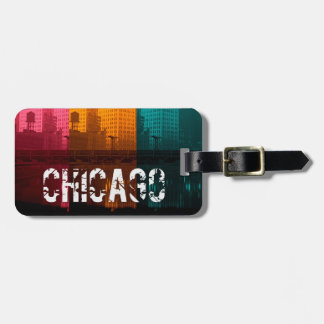 Chicago Wrigley Building 1930's Colorful Photo Bag Tag