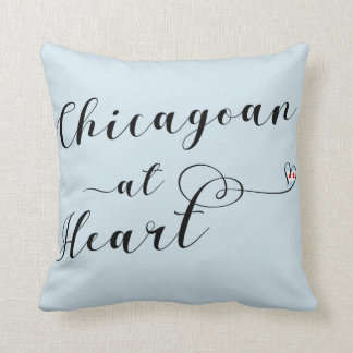 Chicagoan At Heart Throw Cushion, Chicago Throw Pillow